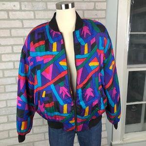 Vintage K Arnold 100% Silk Puffer Coat Size Large